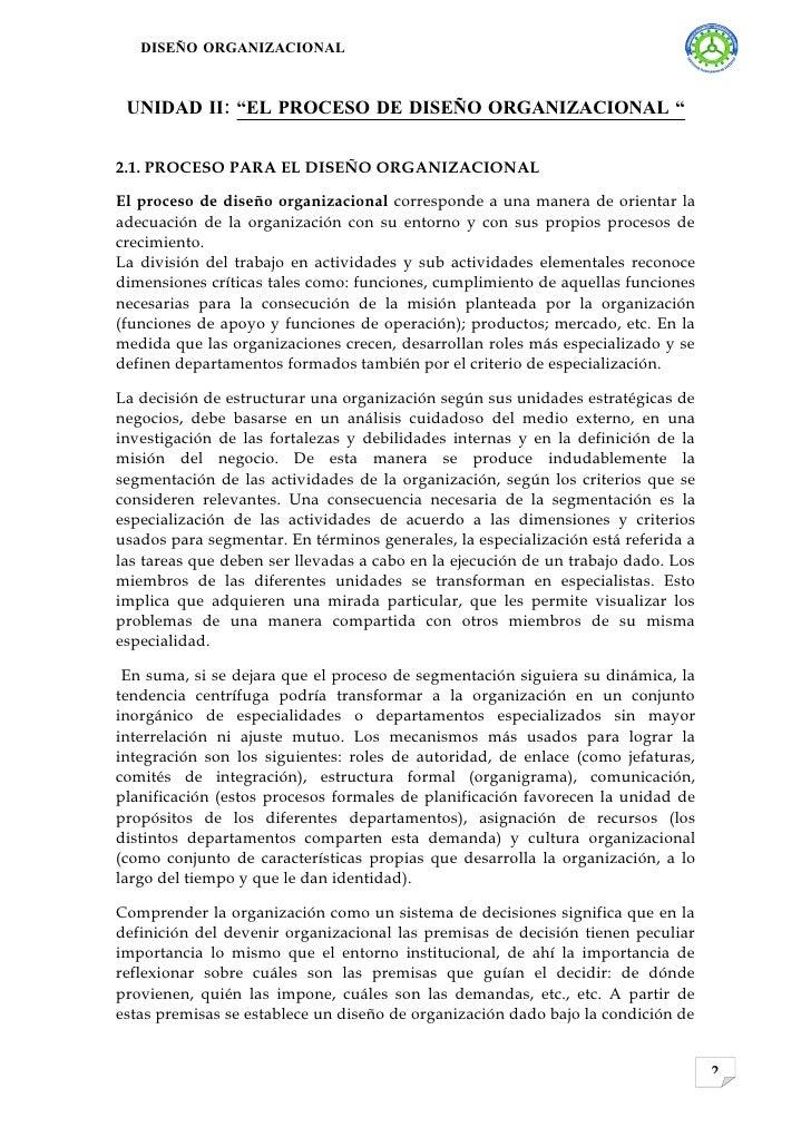 """DISEÑO ORGANIZACIONAL     UNIDAD II: """"EL PROCESO DE DISEÑO ORGANIZACIONAL """"   2.1. PROCESO PARA EL DISEÑO ORGANIZACIONAL  ..."""