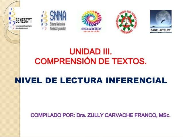 UNIDAD III.COMPRENSIÓN DE TEXTOS.NIVEL DE LECTURA INFERENCIALCOMPILADO POR: Dra. ZULLY CARVACHE FRANCO, MSc.