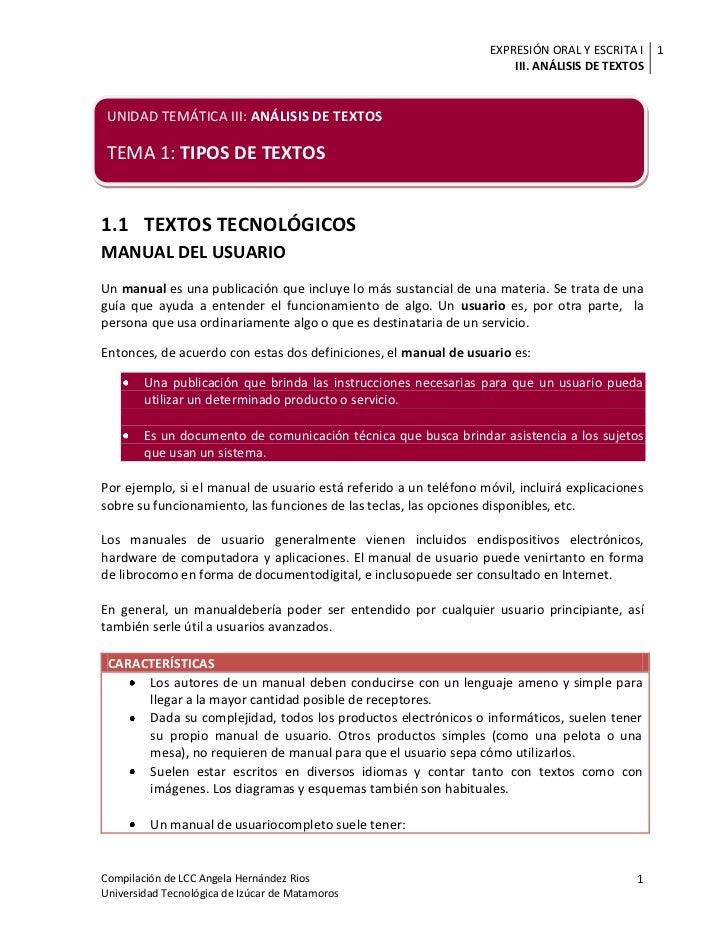 EXPRESIÓN ORAL Y ESCRITA I 1                                                                       III. ANÁLISIS DE TEXTOS...