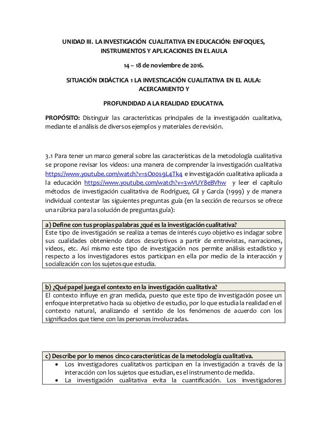 UNIDAD III. LA INVESTIGACIÓN CUALITATIVA EN EDUCACIÓN: ENFOQUES, INSTRUMENTOS Y APLICACIONES EN EL AULA 14 – 18 de noviemb...