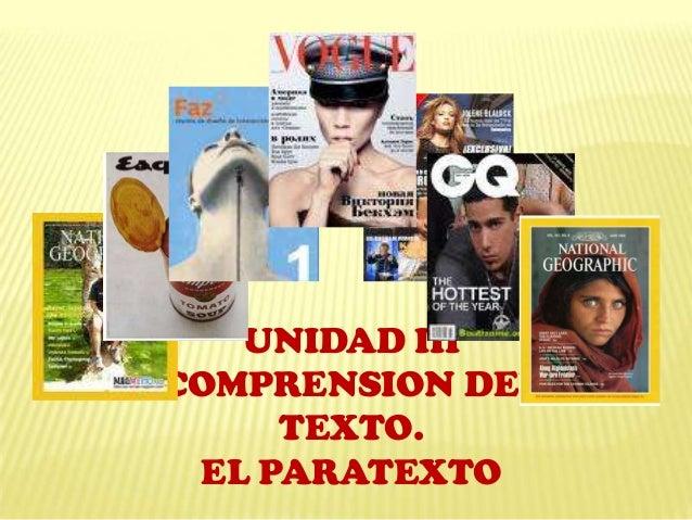 UNIDAD III COMPRENSION DEL TEXTO. EL PARATEXTO