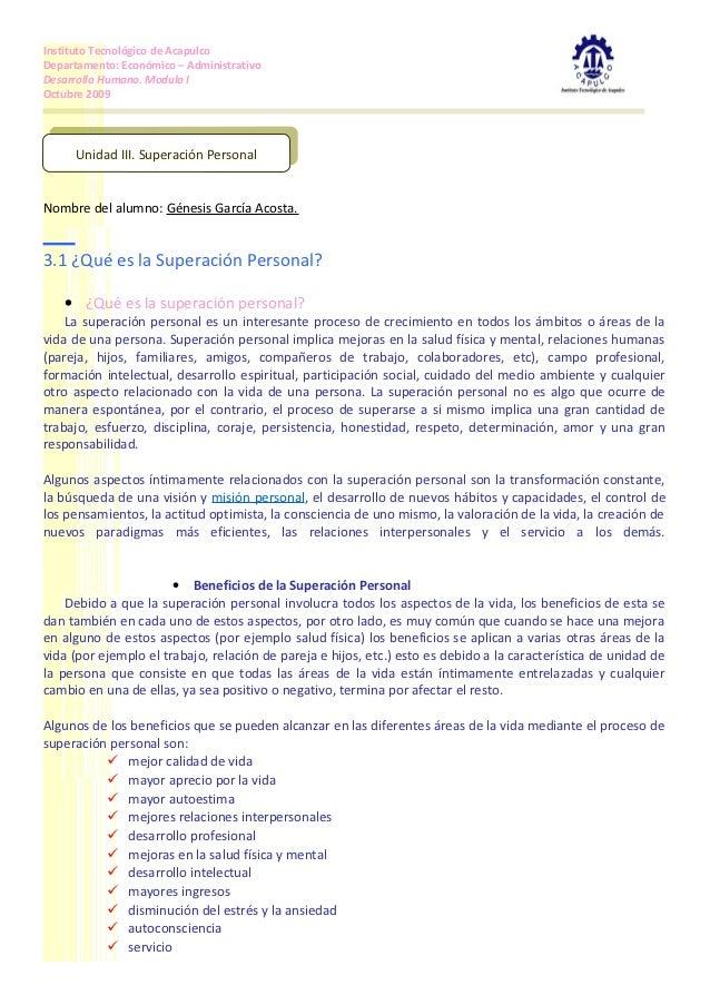 Instituto Tecnológico de AcapulcoDepartamento: Económico – AdministrativoDesarrollo Humano. Modulo IOctubre 2009       Uni...