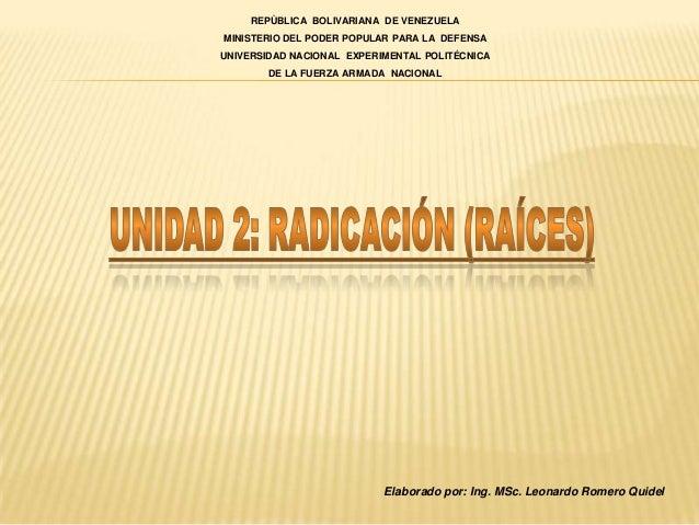 REPÙBLICA BOLIVARIANA DE VENEZUELAMINISTERIO DEL PODER POPULAR PARA LA DEFENSAUNIVERSIDAD NACIONAL EXPERIMENTAL POLITÉCNIC...