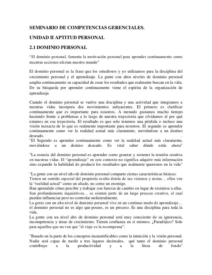 """SEMINARIO DE COMPETENCIAS GERENCIALES.UNIDAD II APTITUD PERSONAL2.1 DOMINIO PERSONAL""""El dominio personal, fomenta la motiv..."""