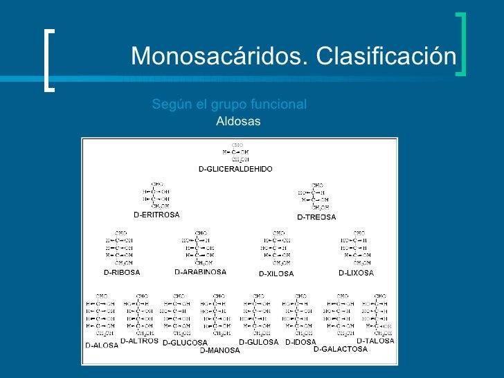 Monosacáridos. Clasificación Según el grupo funcional Aldosas