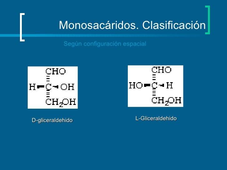 Monosacáridos. Clasificación Según configuración espacial D-gliceraldehido L-Gliceraldehido
