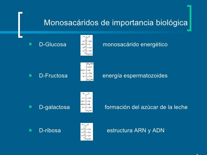 Monosacáridos de importancia biológica <ul><li>D-Glucosa  monosacárido energético  </li></ul><ul><li>D-Fructosa  energía e...