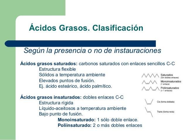 Ácidos Grasos. Clasificación Según la presencia o no de instauracionesÁcidos grasos saturados: carbonos saturados con enla...