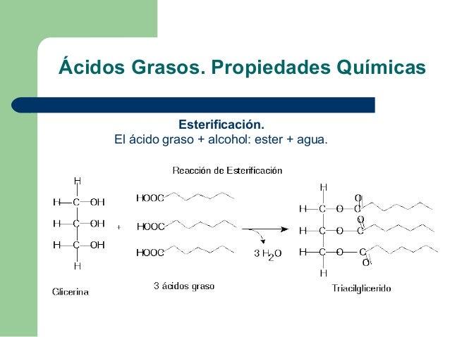 Ácidos Grasos. Propiedades Químicas                 Esterificación.     El ácido graso + alcohol: ester + agua.