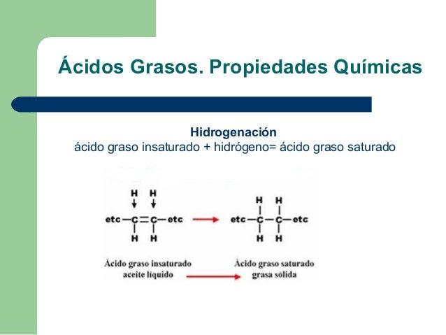 Ácidos Grasos. Propiedades Químicas                      Hidrogenación ácido graso insaturado + hidrógeno= ácido graso sat...