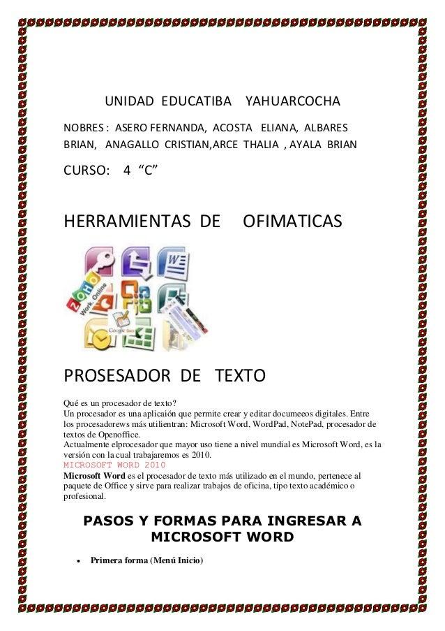 UNIDAD EDUCATIBA YAHUARCOCHANOBRES : ASERO FERNANDA, ACOSTA ELIANA, ALBARESBRIAN, ANAGALLO CRISTIAN,ARCE THALIA , AYALA BR...