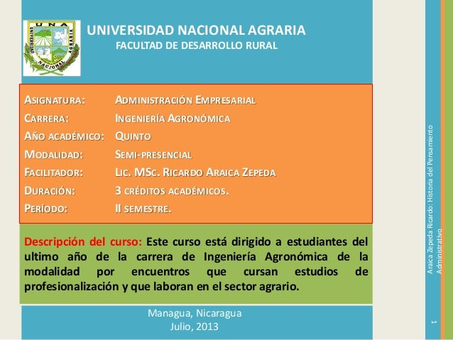 Descripción del curso: Este curso está dirigido a estudiantes del ultimo año de la carrera de Ingeniería Agronómica de la ...