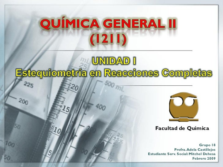 Facultad de Química                                Grupo 18                Profra. Adela Castillejos Estudiante Serv. Soci...