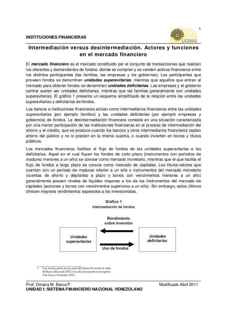 1INSTITUCIONES FINANCIERAS Intermediación versus desintermediación. Actores y funciones                   en el mercado fi...