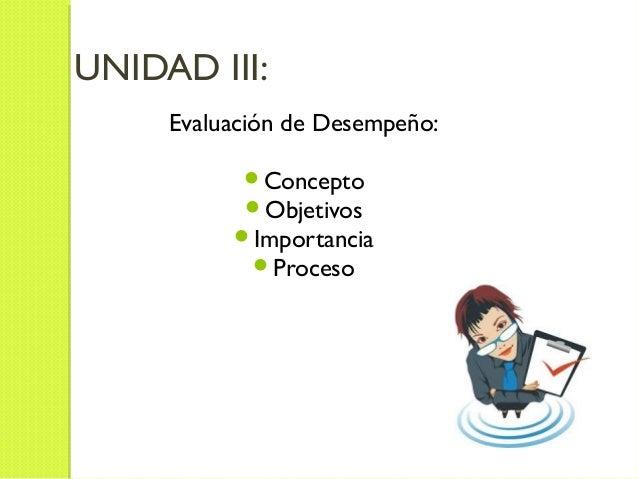 UNIDAD III:Evaluación de Desempeño:ConceptoObjetivosImportanciaProceso