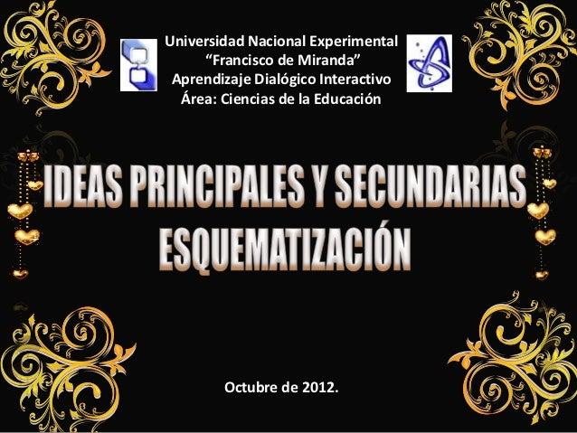 """Universidad Nacional Experimental     """"Francisco de Miranda"""" Aprendizaje Dialógico Interactivo  Área: Ciencias de la Educa..."""