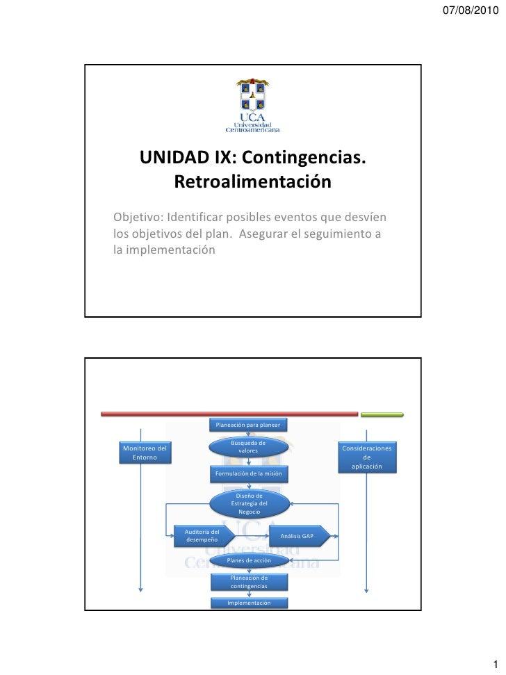 07/08/2010          UNIDAD IX: Contingencias.         Retroalimentación Objetivo: Identificar posibles eventos que desvíen...