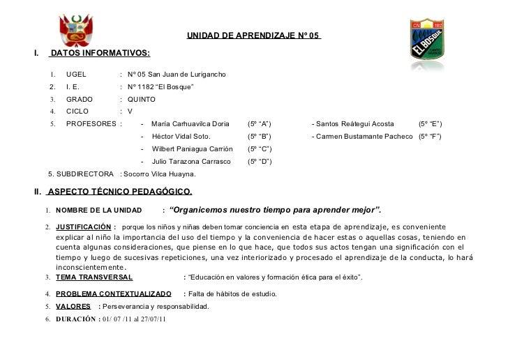 UNIDAD DE APRENDIZAJE Nº 05I.    DATOS INFORMATIVOS:      1.   UGEL            : Nº 05 San Juan de Lurigancho      2.   I....