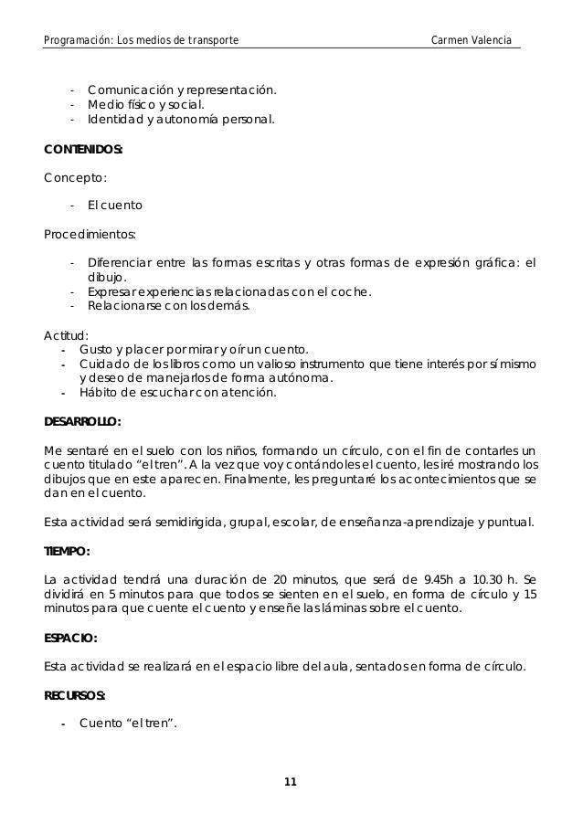 Programación: Los medios de transporte                                 Carmen Valencia       -    Comunicación y represent...