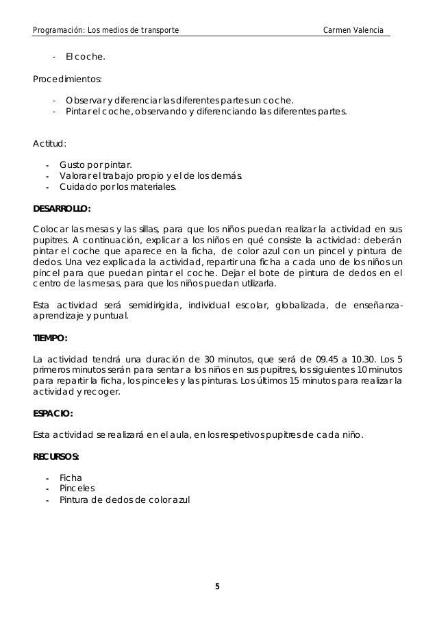 Programación: Los medios de transporte                                  Carmen Valencia       -    El coche.Procedimientos...