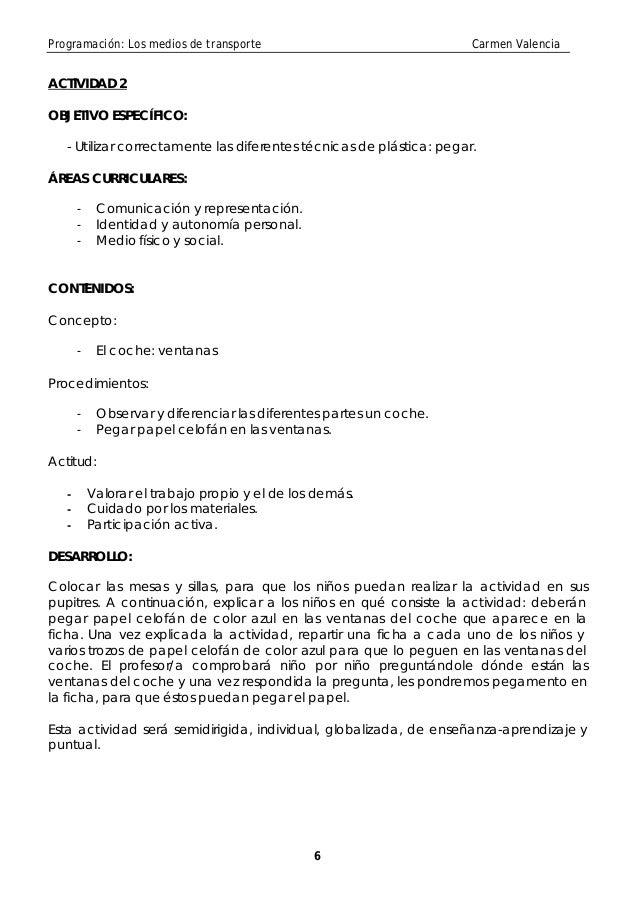 Programación: Los medios de transporte                                Carmen ValenciaACTIVIDAD 2OBJETIVO ESPECÍFICO:   - U...