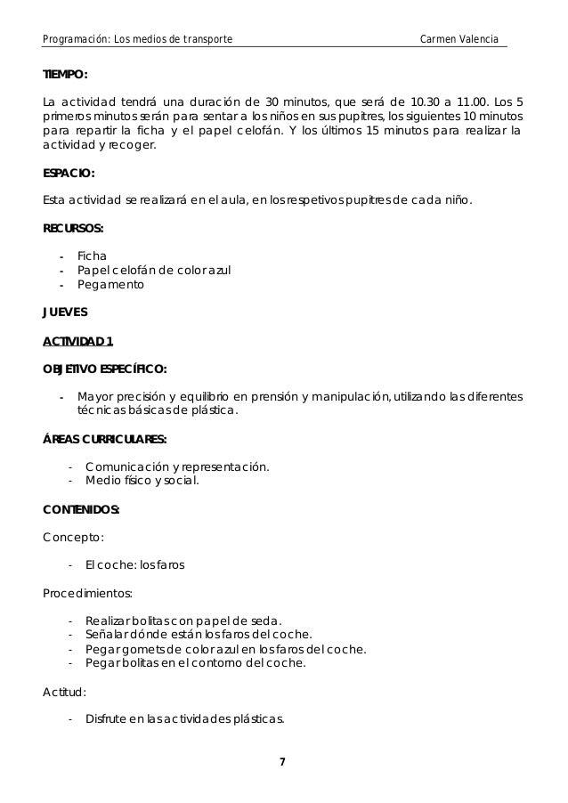 Programación: Los medios de transporte                                    Carmen ValenciaTIEMPO:La actividad tendrá una du...