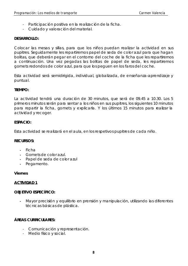 Programación: Los medios de transporte                                    Carmen Valencia       -    Participación positiv...