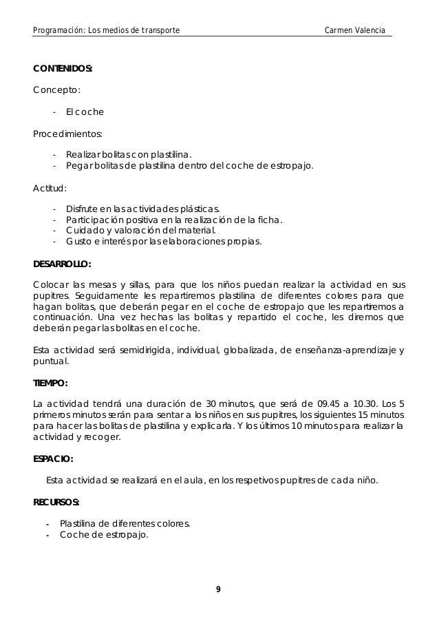 Programación: Los medios de transporte                                   Carmen ValenciaCONTENIDOS:Concepto:       -    El...