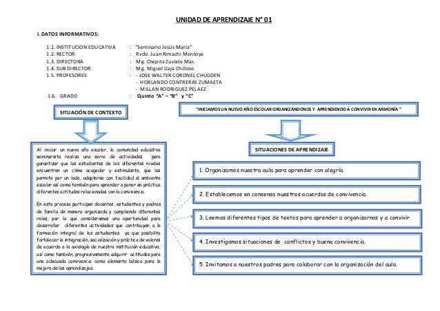 """UNIDAD DE APRENDIZAJE N° 01 I. DATOS INFORMATIVOS: 1.1. INSTITUCION EDUCATIVA : """"Seminario Jesús María"""" 1.2. RECTOR : Rvdo..."""