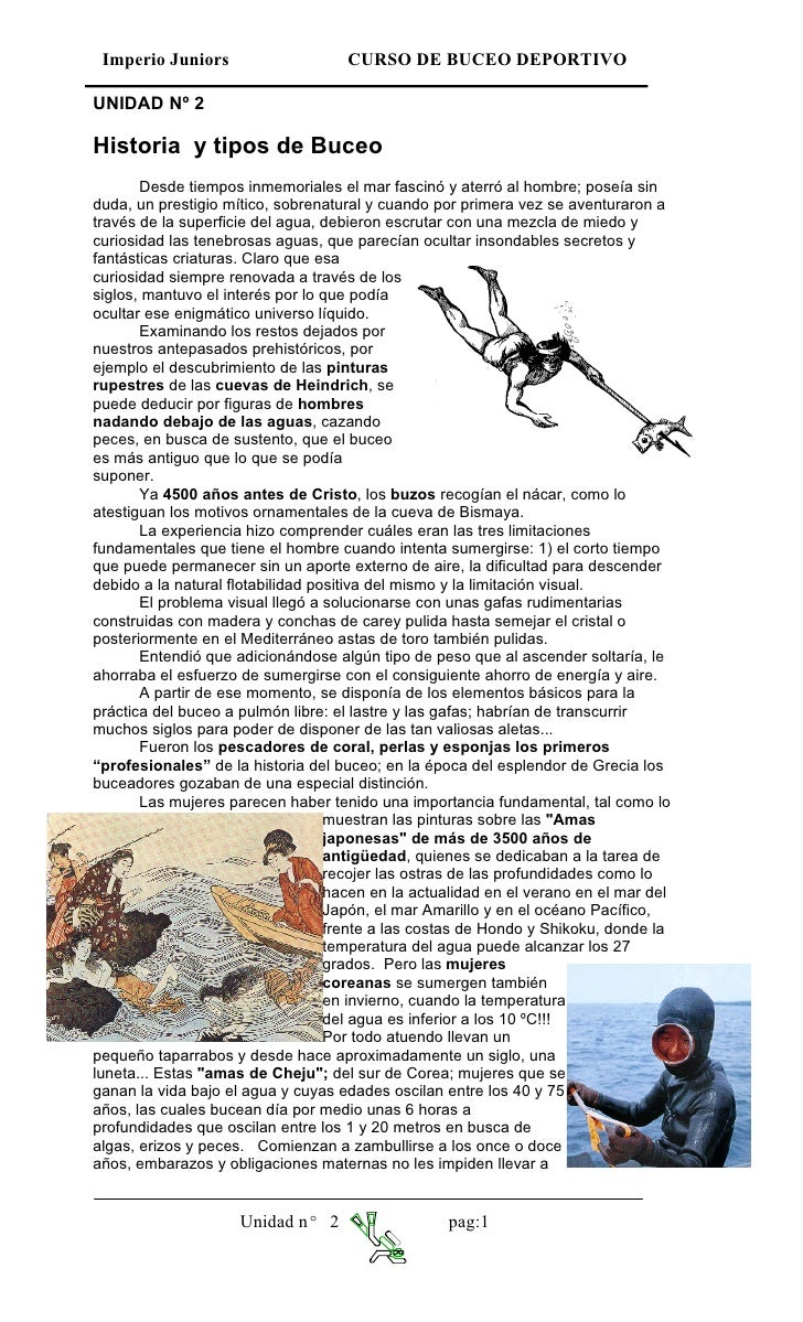 Imperio Juniors                     CURSO DE BUCEO DEPORTIVO  UNIDAD Nº 2  Historia y tipos de Buceo        Desde tiempos ...