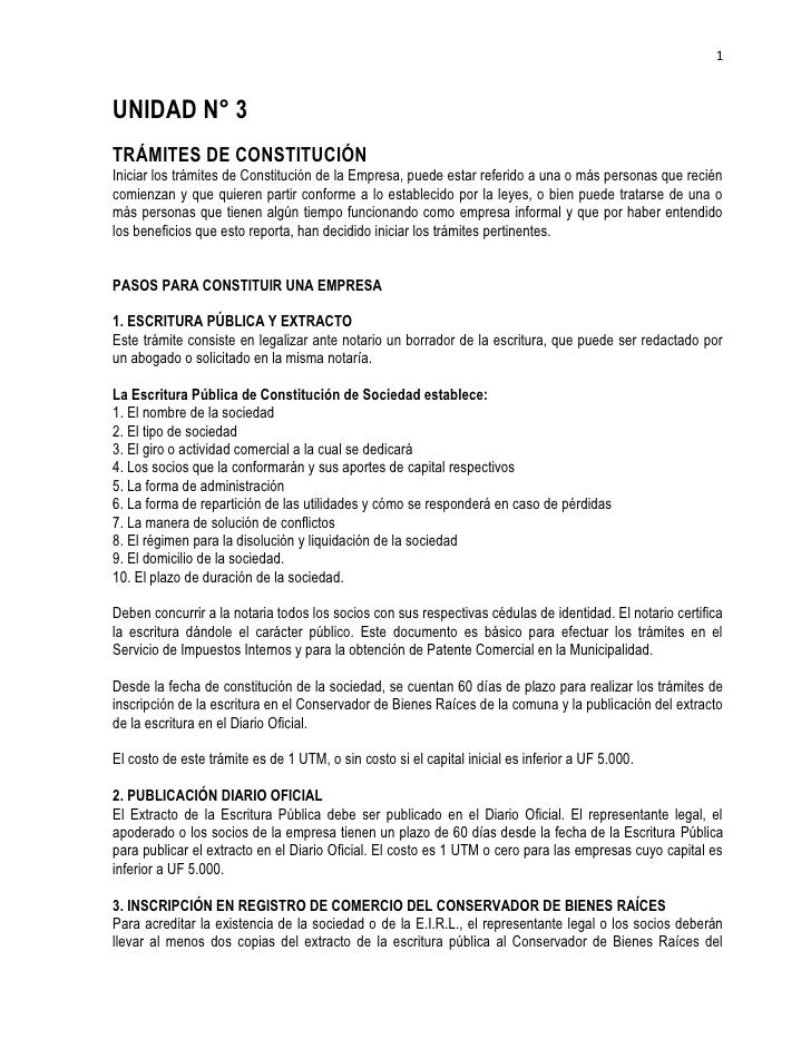 1UNIDAD N° 3TRÁMITES DE CONSTITUCIÓNIniciar los trámites de Constitución de la Empresa, puede estar referido a una o más p...