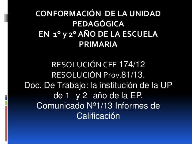 CONFORMACIÓN DE LA UNIDAD PEDAGÓGICA EN 1° y 2° AÑO DE LA ESCUELA PRIMARIA RESOLUCIÓN CFE 174/12 RESOLUCIÓN Prov.81/13. Do...