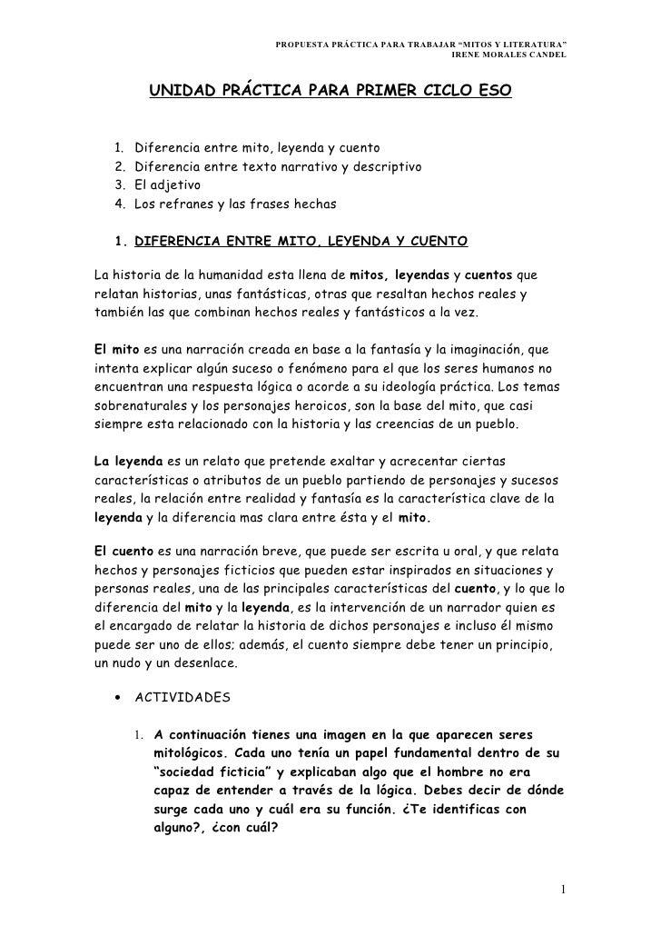 """PROPUESTA PRÁCTICA PARA TRABAJAR """"MITOS Y LITERATURA""""                                                             IRENE MO..."""