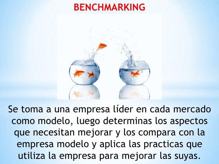 BENCHMARKINGSe toma a una empresa líder en cada mercado como modelo, luego determinas los aspectos  que necesitan mejorar ...