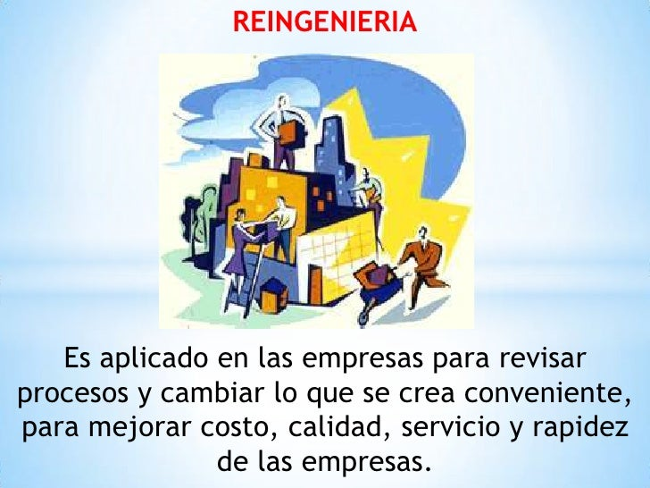 REINGENIERIA   Es aplicado en las empresas para revisarprocesos y cambiar lo que se crea conveniente,para mejorar costo, c...