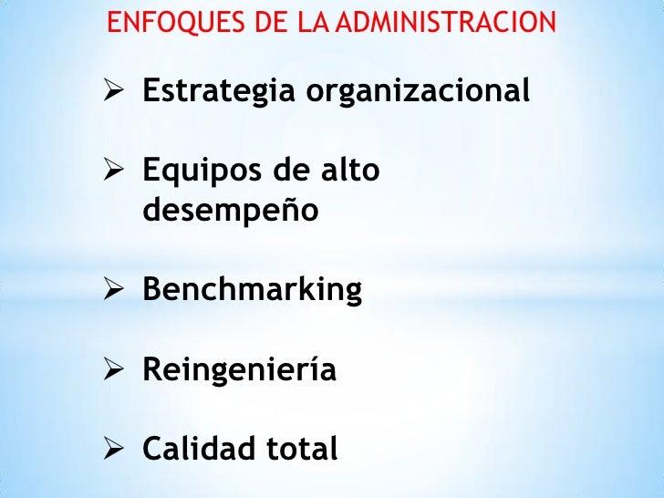 ENFOQUES DE LA ADMINISTRACION Estrategia organizacional Equipos de alto  desempeño Benchmarking Reingeniería Calidad ...
