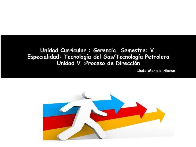 Unidad Curricular : Gerencia. Semestre: V.Especialidad: Tecnología del Gas/Tecnología Petrolera           Unidad V :Proces...