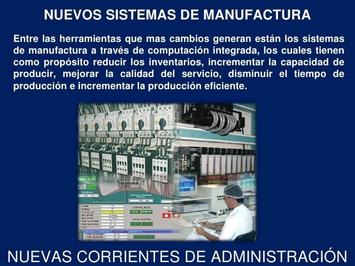 NUEVOS SISTEMAS DE MANUFACTURAEntre las herramientas que mas cambios generan están los sistemasde manufactura a través de ...