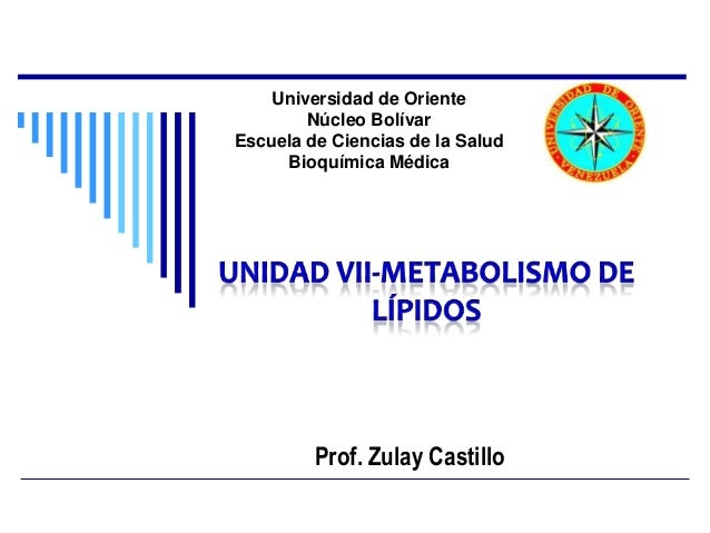 Universidad de Oriente        Núcleo BolívarEscuela de Ciencias de la Salud     Bioquímica Médica         Prof. Zulay Cast...