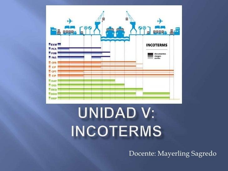 Unidad V:INCOTERMS<br />Docente: Mayerling Sagredo<br />