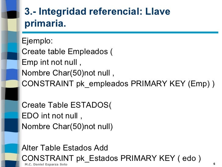 Unidad v integridad relacional - Alter table add constraint primary key ...