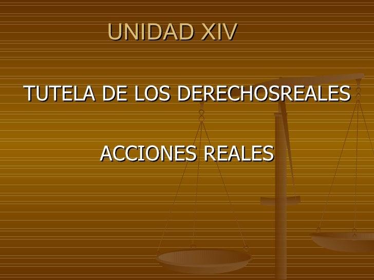 UNIDAD XIV   TUTELA DE LOS DERECHOSREALES ACCIONES REALES