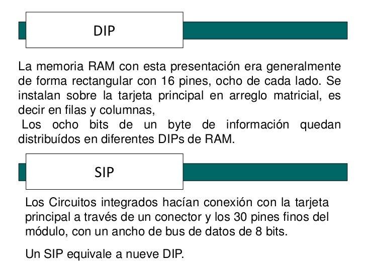 DIPLa memoria RAM con esta presentación era generalmentede forma rectangular con 16 pines, ocho de cada lado. Seinstalan s...