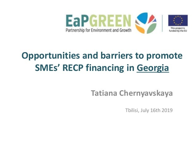 Opportunities and barriers to promote SMEs' RECP financing in Georgia Tatiana Chernyavskaya Tbilisi, July 16th 2019