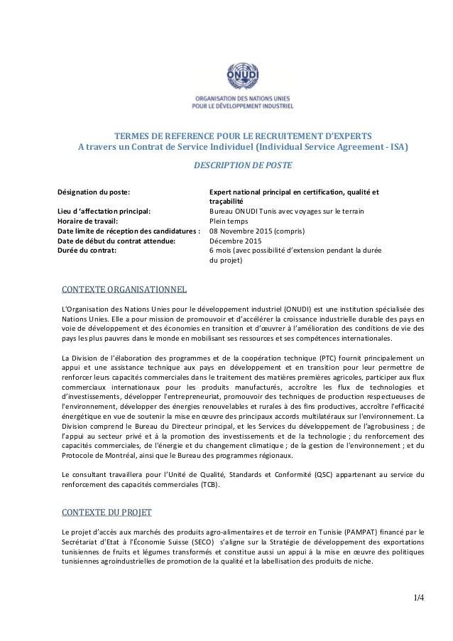 1/4 TERMES DE REFERENCE POUR LE RECRUITEMENT D'EXPERTS A travers un Contrat de Service Individuel (Individual Service Agre...