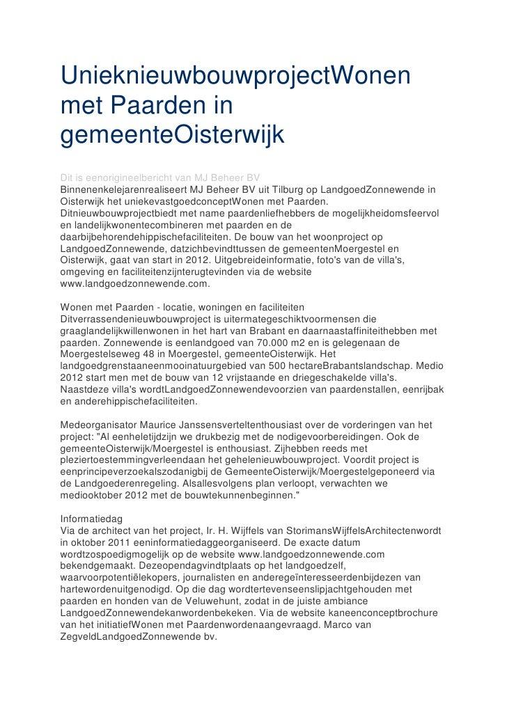 Uniek nieuwbouwproject wonen met paarden in gemeente oisterwijk Landg…
