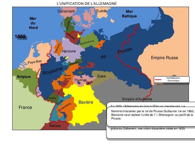 L'UNIFICATION DE L'ALLEMAGNE Suède  Danemark  Mer Baltique  Mer du Nord  1862 1850 M.  Hanovre  Empire Russe L. A. A.  Hes...