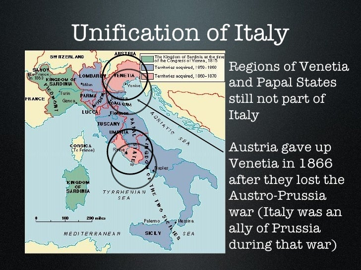 the unification of germany and italy I know that european affairs were domintaed by the unification of italy and germany, war, civil war, and changing political alignments served as catalysts for domestic reforms.