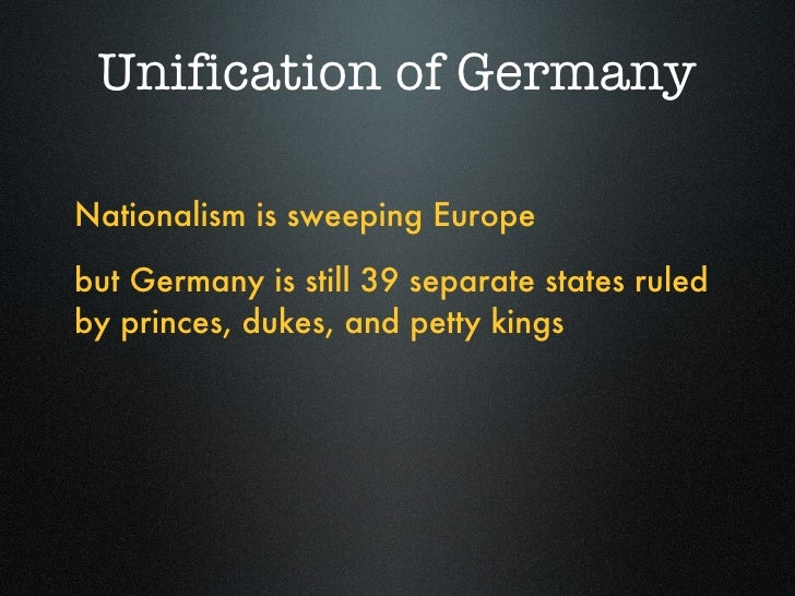 an introduction to the unification of italy and germany Both italy and germany went through their unification into nation-states at the same time in the 1860's there appears to be a pattern with the rise of nation states in europe moving west to east .