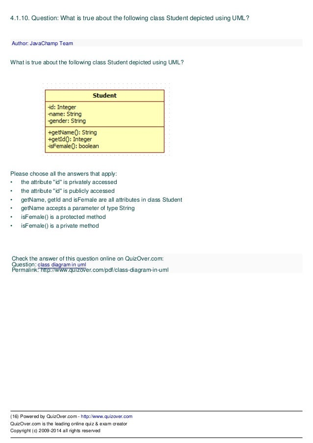 Uml unified modeling language quiz 16 ccuart Choice Image